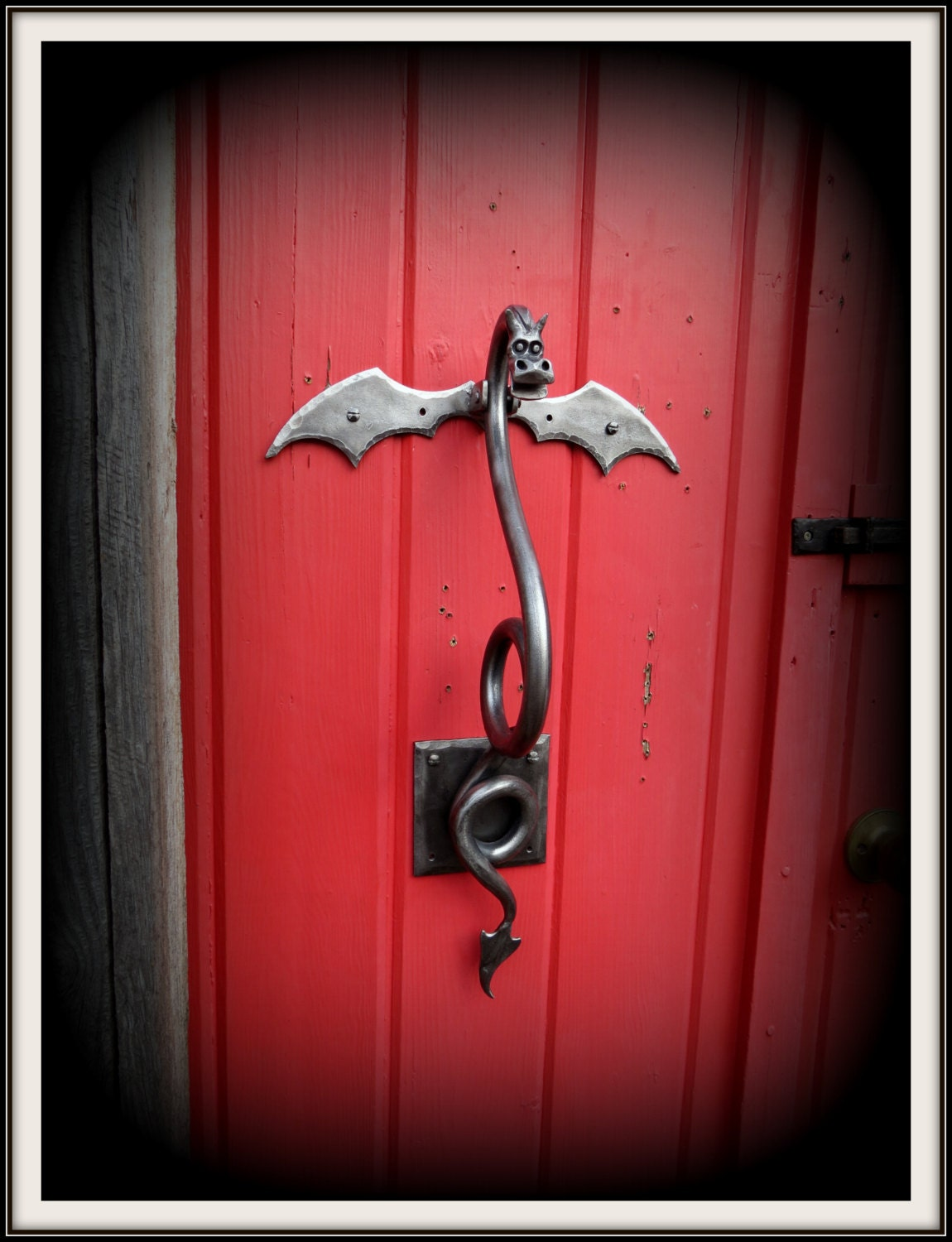 Dragon door knocker large sculpture hand forged and signed - Dragon door knocker ...