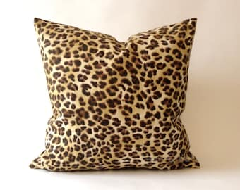20x20 Leopard Print Decorative Pillow Cover - Medium Weight Cotton- Invisible Zipper Closure- Cushion Cover