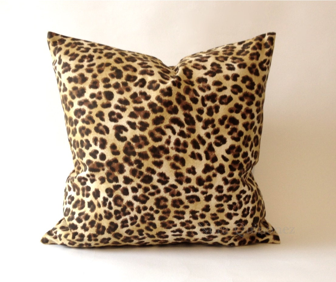 19x19 Leopard Print Decorative Pillow Cover - Medium Weight Cotton ...