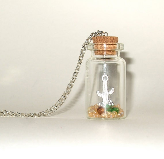 Cactus Necklace, Country and Western Bottle Pendant, Cowboy Bottle, Desert Bottle Necklace, Cactus Jewelry, Western Style, Cowgirl Chic