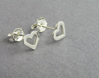 Silver Heart Earrings - Heart Studs - Sterling Silver Post Earrings