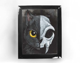 Black Cat Print, Skull Art, Halloween Decor, Animal Skeleton, Pet Portrait, Black and White, Large Wall Art, ACEO Art Card