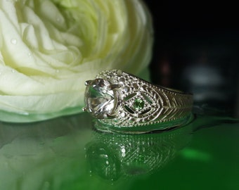 Herkimer Diamond Ring Smokey Shades With Peridot Sterling Antique Style Filigree Design
