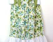 Vintage Pillowcase Dress - Small Blue Flowers with Green Ribbon - Little Girls