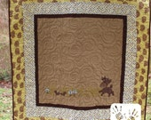 ON SALE Woodlands Baby quilt, Deer and Squirrels with Mushrooms, FREE Personalization You pick accent fabric by Messy Kids Designs