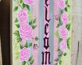 Welcome Sign, Painted Wall Hanging, Flower Sign, Pink Rose, Floral Sign, Welcome Door Sign, Cottage Rose Sign, Door Hanging, Wood Sign