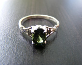 15% Off Sale.S24 Made to Order...Solid Sterling Silver or Solid Gold Simple Filigree Ring Mount  1 carat Natural Green Tourmaline Gemstone