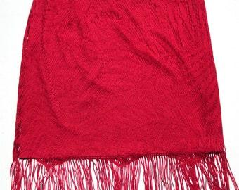 Vintage Jessica McClintock Red Fringed Flapper Skirt