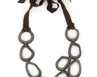 """Statement Necklace w/ Eco-Friendly Tagua Seed & Leather - """"RUSTICA"""" Style"""
