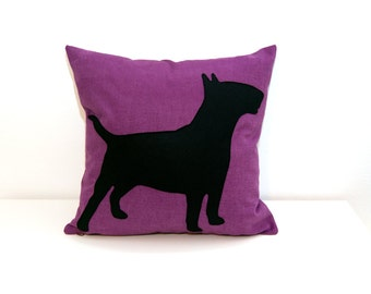 Personalized pet portrait for bull terrier, cushion cover, purple and black, dog pillow, decorative pillow, sofa pillow, personalized pillow