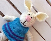 Hand Knitted Bunny Rabbit Custom Toy - Hand Knitted Stuffed Bunny -  Toy Bunny - Kids Toy Plush - Stuffed Animal - Plush Doll Michelle