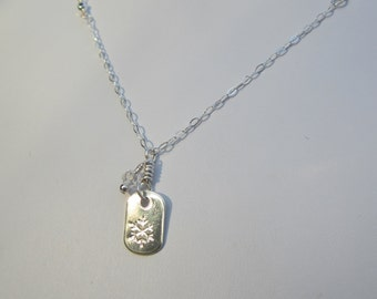 Hand Stamped Silver Snowflake Necklace with Quartz Crystal