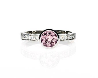 Pink tourmaline ring, diamond, Palladium, engagement ring, bezel, unique engagement, tourmaline ring, solitaire, light pink, morganite