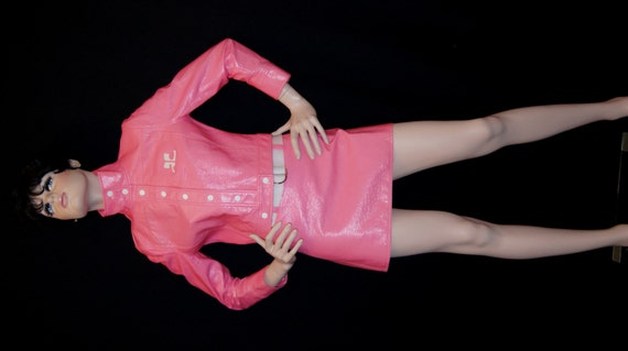 SALE Courreges Space Age Mod Pink Vinyl Cropped Jacket and
