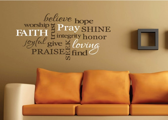 Words of faith christian word collage subway art by for Christian wall mural