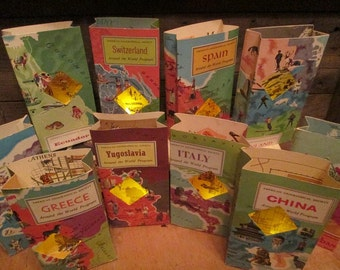 Travel Centerpieces, 5 Travel Themed Travel Book Luminaries, Bon Voyage, Luminary Bags, Map Luminaries, Travel Books, Around the World