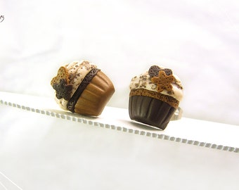 Cupcake Earrings, Chocolate Cupcakes, Miniature Food Earrings, Scented Jewelry, Polymer Clay Food Studs,Cupcake Jewelry,Mini Food Jewelry