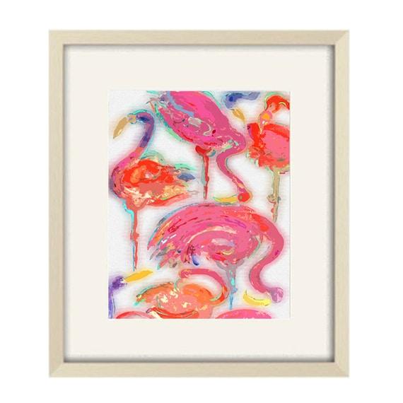 Bathroom art tropical bathroom decor abstract art flamingo art for Flamingo bathroom accessories set