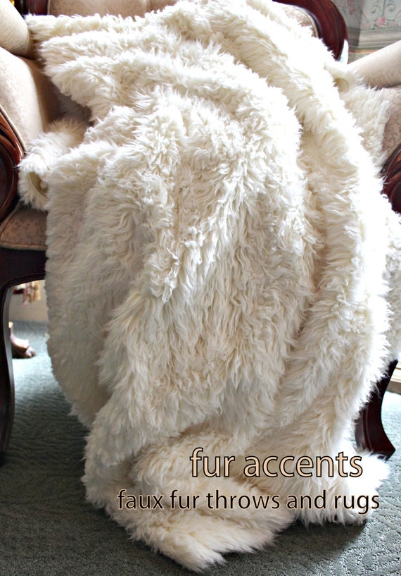 FUR ACCENTS  Soft Shaggy Warm White, Faux Fur Throw Blanket / Minky Cuddle Fur / Fake Lambskin / Mink / Fleece / Sheepskin