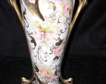 Royal Vienna Porcelain Gold and Floral Vase