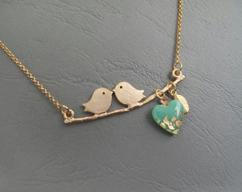 Birds on a Branch Necklace, Kissing Birds on a Branch With Mint Heart