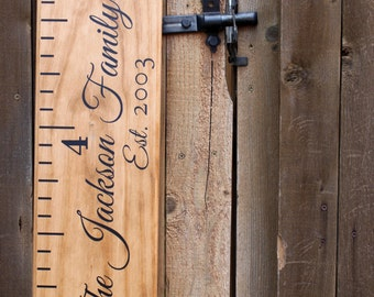 Growth Chart Ruler Add-On -- Custom Personalization Decal -- For the Side - Family Name and Date