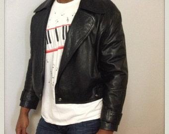 VINTAGE DESIGNER Andrew Marc Black Lambskin Leather Jacket Size Small 1980s