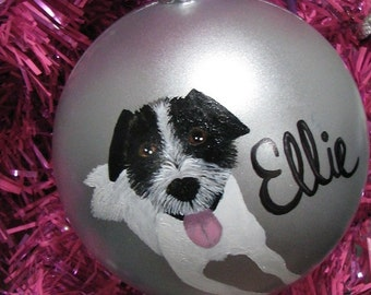 Custom Pet Portrait Painting on large silver ornament