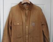 Vintage 80's CARHARTT Distressed Chore Jacket 100 year workwear jacket size XL
