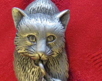Cute JJ Silver Tone Mama Cat & Kitten Brooch Pin - Free Shipping