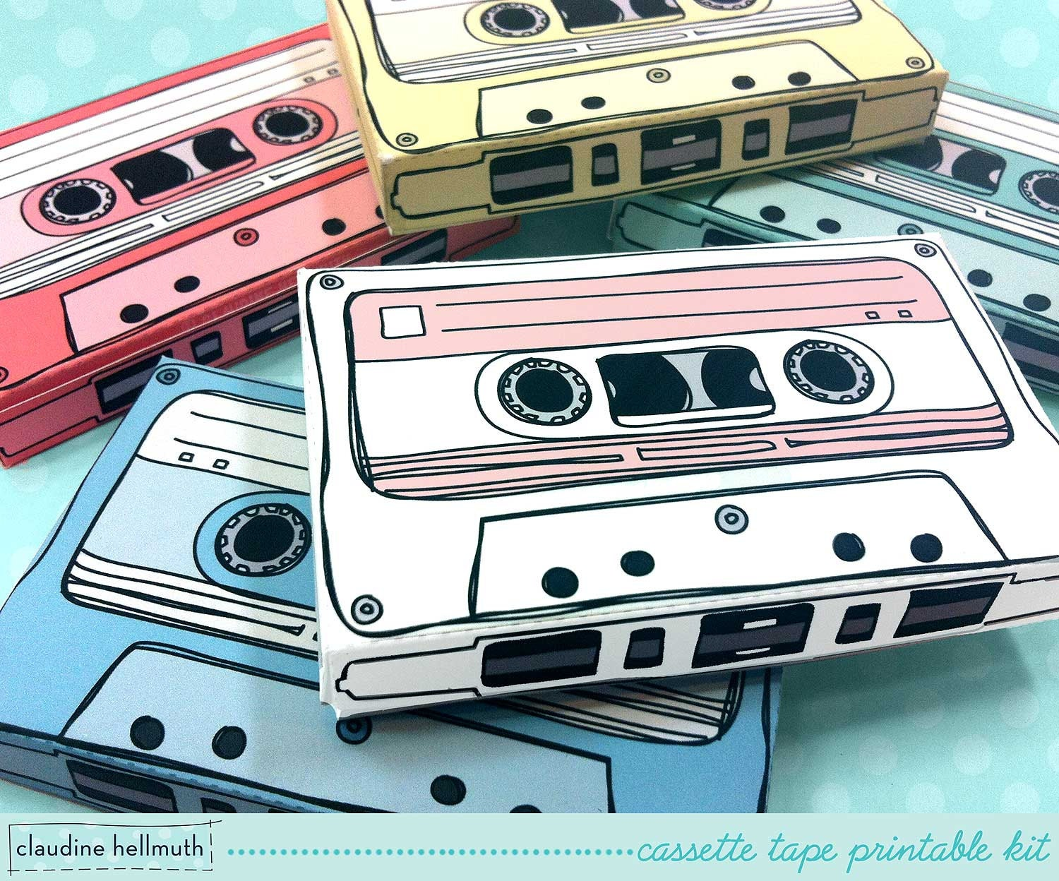 cassette tapes gift card holders party favor boxes paper