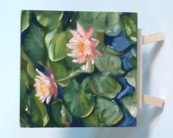 Small Original Oil Painting - Lotus Pond - landscape-still life
