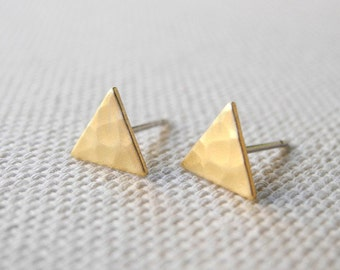 Hammered Triangle Earrings, Minimalist Jewelry, Brass Jewelry, Geometric Earrings, Tiny Stud Earrings, Sterling Silver Hypoallergenic (E130)