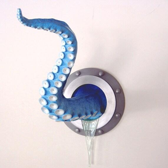 octopus attack sculpture blue tentacle wall decor nautical. Black Bedroom Furniture Sets. Home Design Ideas
