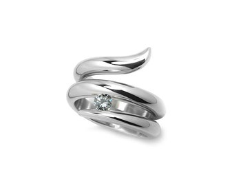 Taormina Statement Snake Cocktail Right Hand Ring with White Sapphire in Stainless Steel