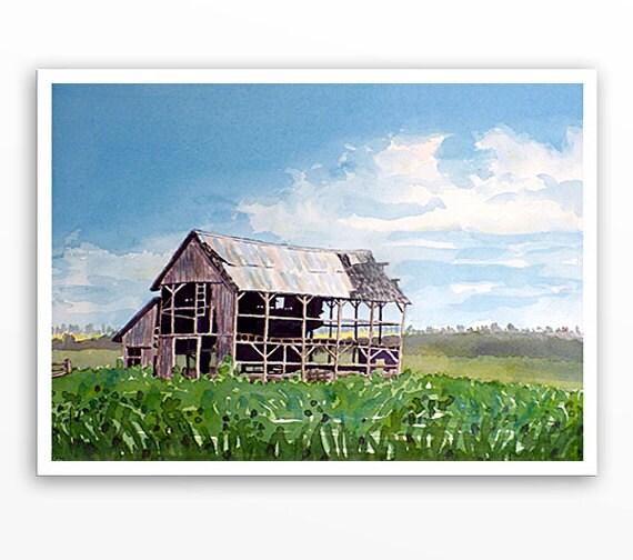 Old Barn Art PRINT Watercolor / Farmhouse art home decor / Farm landscape painting / Country chic Farmhouse artwork colorfield blue green BD