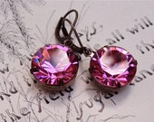 Rose Pink Swarovski Crystal Earrings Bridal Bridesmaid Round Rhinestones Wedding Party Jewelry