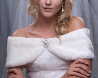 "6"" wide Winter wedding shawl custom faux fur wrap shrug Available in White, Diamond white, Black or Cream"