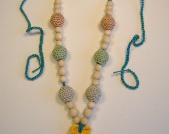 Crocheted beaded nursing necklace....Eco friendly and natural  BN204