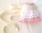 Wedding Wrist Cuff Gauntlet Victorian Costume Accessory in Pastel Pink Blush Shantung Silk with Vintage Eyelet Lace in White And Pink