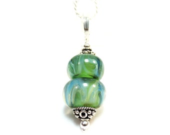 Spring Green Pendant Necklace, Sterling Silver Lampwork Necklace, Sage Green, Seafoam Lampwork Bead, .925 Sterling Silver, Boro Bead, SRA