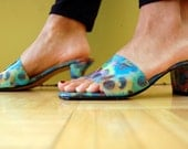 Vintage Holographic 90s Club Kid Sandal Shoes Butterfly and and Sunflower Low Heel