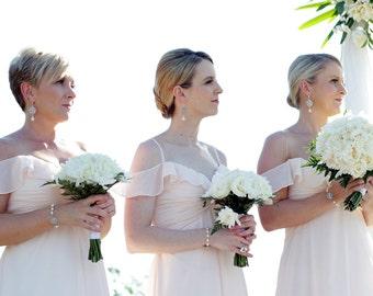 Bridal Earrings, pearl earrings,  Rhinestone Wedding Earrings, Chandeliers Earrings, swarovski pearl crystal teardrop earrings, ROSELANI