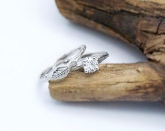 Moissanite bridal set, twig rings, gold leaf ring, prong ring setting, stackable ring set