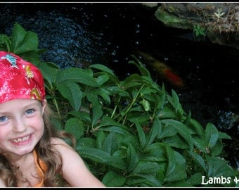 BANDANA-Koi Fish Bandana-fabric covered elastic back- by Lambs & Lollipops - one size fits girls, teens, adults / Ready To Ship