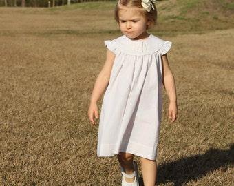 Girls Monogrammed Khaki / Beige Seersucker Dress, Perfect for Beach Photos