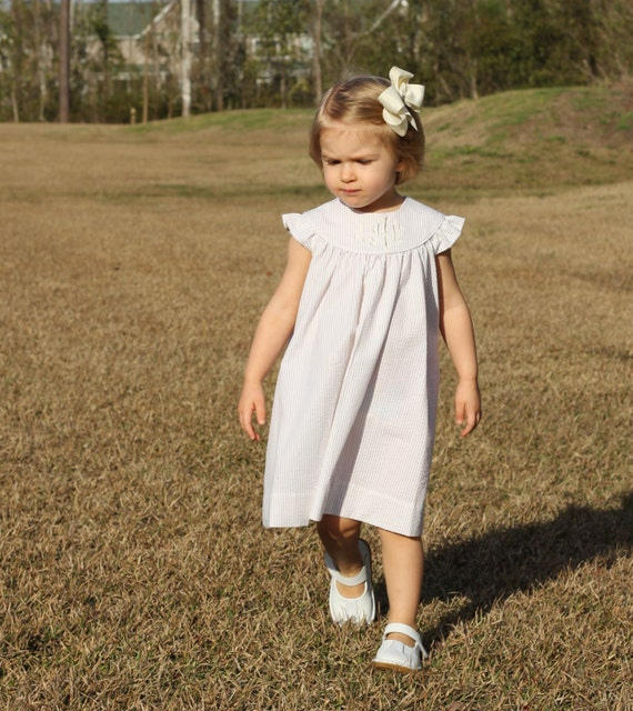 Girls Monogrammed Beige and White Seersucker Dress, Perfect for Beach Photos