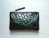EMERALD Green and Black Leather Clutch. Leather Green Emerald Clutch Gator Black.