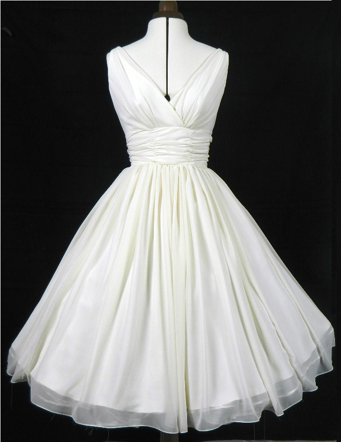 simple and elegant 50s style dress ivory chiffon by elegance50s. Black Bedroom Furniture Sets. Home Design Ideas