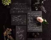 Hand Lettered Invitation Suite - weddings - White Calligraphy on Black